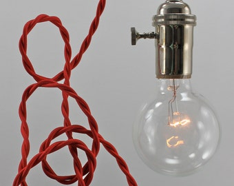 Red Modern Bare Bulb Pendant Light