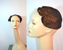 1950s Vintage Brown Shantung and Beaded Fascinator Hat