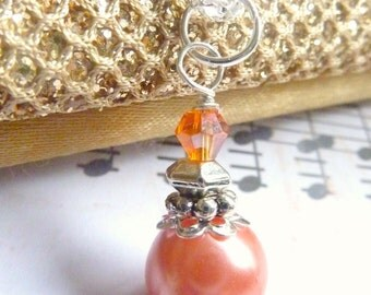 Bridesmaids necklace tangerine orange pearl wedding hyacinth orange and silver necklace