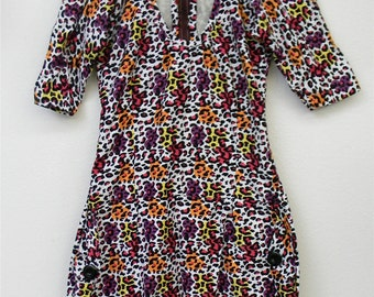 S M Small Medium Vintage Bold Sexy Colorful African Print 80s does Club Kid Wiggle Handmade Frock Statement Dress