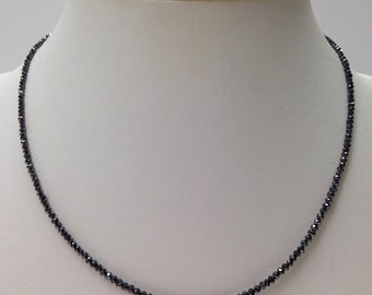 Black Diamond Briolette Handmade Necklace with 14K Gold Clasp