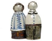 """Ceramic Sculpture """"Friends """"  Boy And Girl, Brother And Sister"""