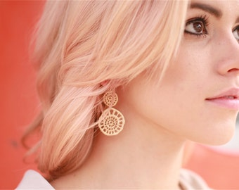 Matte Gold Plated Double Drop Organic Round Earrings