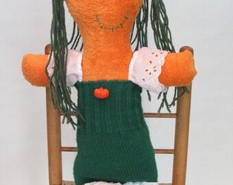Plush Halloween Pumpkin Doll or Decoration, Pumpkin Princess Rag Doll