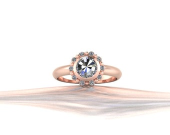 6mm Round Rosecut Diamond Engagment Ring with Halo 14K Gold