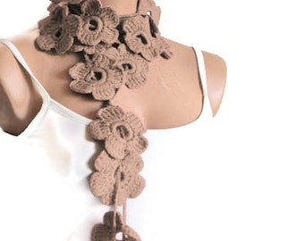 Handmade Crochet Flower Lariat Scarves Tan Beige, Fashion Flower Scarves, Necklace. Lariat Scarf, Latte