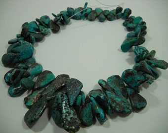 Natural Turquoise Teardrop Briolette Graduating Strand Beads 10mm - 33mm