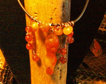 Red agate goddess choker