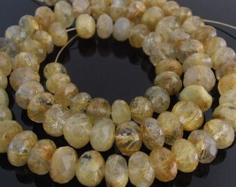Rutilated Quartz Faceted Rondelles, Rutilated Quartz Beads, Golden Rutilated Quartz, Faceted Gemstone Beads, 5-8 mm, 8 in. Strand, Set of 40