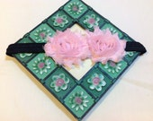 Light Pink Shabby Chic Flowers on an Shiny Black Headband, Infant to Adult