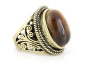 Elegant Vintage Gold-tone Carved Brown TIGER'S EYE Stone Ring,Size 7 ,K5
