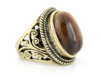 Elegant Vintage Gold-tone Carved Brown TIGER'S EYE Stone Ring,Size 7 ,K5