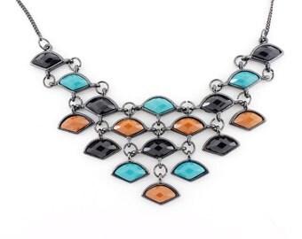 Cool Black Multiple Fan-Shaped Pendant Necklace B4
