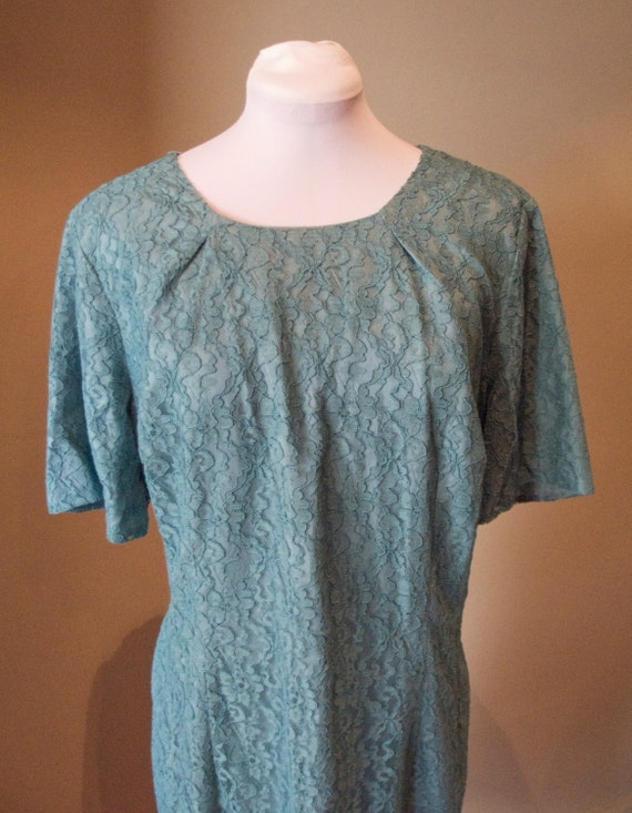 Vintage Early 1960s Teal Blue Lace Dress and Jacket - 46 Bust