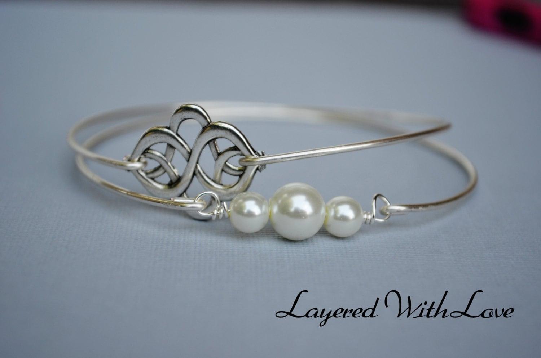 silver celtic knot bangle set silver bracelet geometric. Black Bedroom Furniture Sets. Home Design Ideas