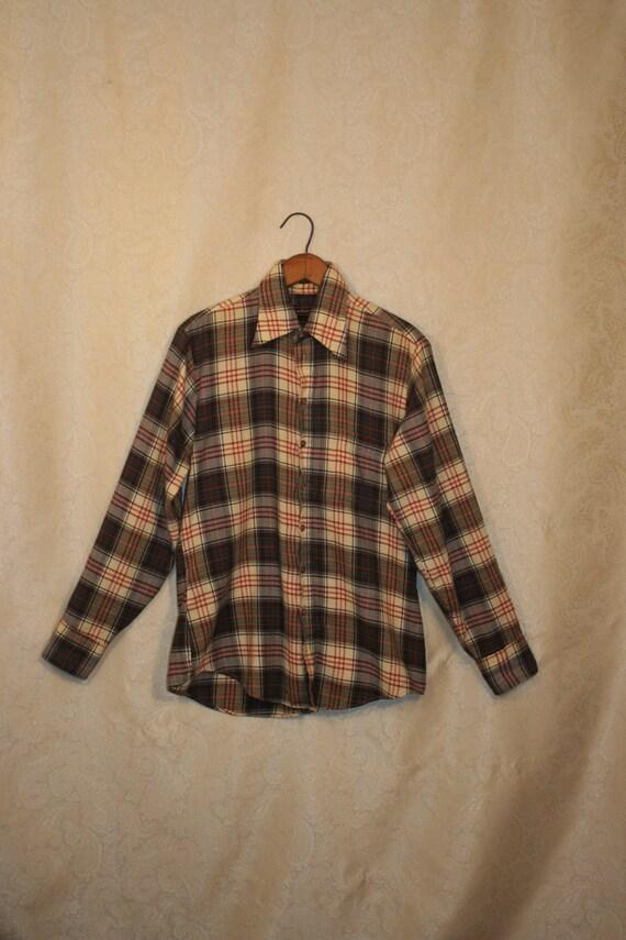 Vintage plaid flannel shirt arrow mens for Mens yellow plaid flannel shirt