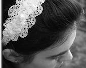 Wedding Headband, Bridal Headband, White Lace Headband, Keepsake Garter, Baby baptism, Christening, Wedding garter