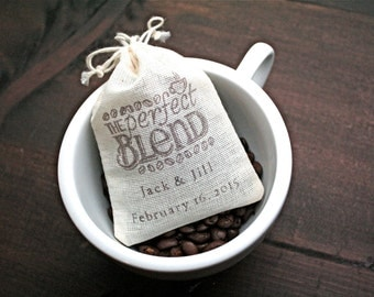Wedding favor bags, set of 25 personalized favor bags. The Perfect Blend with coffee bean design and custom names in brown.