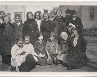 Old Photo Group of School Girls with Teacher 1920s Photograph snapshot vintage