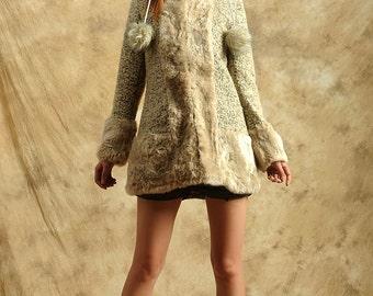 faux fur wool coat