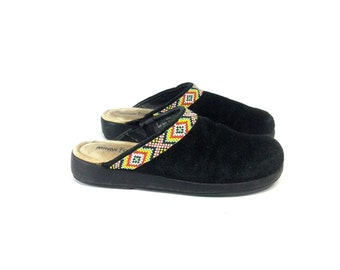 Beaded Leather Clogs 7 - Slip On Tribal Slides 7 - Minnetonka Moccasin Clog 7