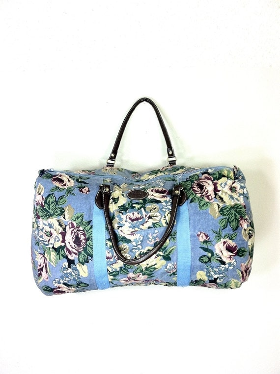 90s Floral Duffel Bag Huge Floral Carry On By MelissaJoyVintage