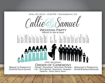 "Silhouette Wedding Program, Printable Wedding Program, Horizontal Wedding Program, Fun Wedding program, silhouette program, 8.5""x5.5"""