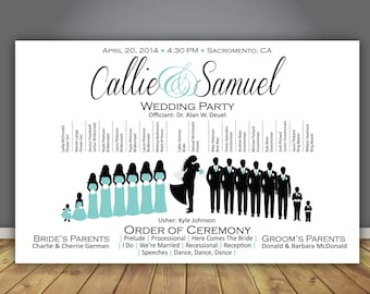 "Silhouette Wedding Program, Wedding Party - Horizontal Layout, 8.5""x5.5"", Design 7"