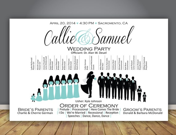 Silhouette Wedding Program Wedding Party Horizontal Layout