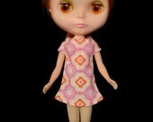 reserved fro M  Mod style pink and orange retro patterned dress for Blythe Pullip Dal licca and similar dolls