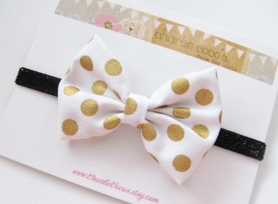 Metallic Polka Dot Headband-Baby/Girls White and Gold Metallic Polka Dot Bow with Black Glitter Headband