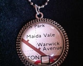 Pop culture necklace: Maida Vale and Warwick Avenue on vintage London tube map