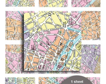 Printable Vintage Paris Map 2in squares Vintage scrapbook paper Digital Collage Sheet scrapbook embellishementst French printable map