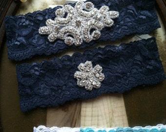 SALE-Wedding Garter - Navy Lace Garter Set - Rhinestone Garter - Applique Garter - Vintage - Bridal Garter - Vintage Garter - Toss Garter