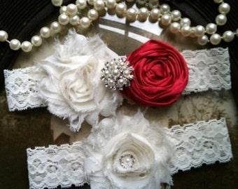 Wedding Garter - Red Wedding Garter - Ivory Lace Garter Set - Bridal Garter - Vintage Garter - Prom Garter- Toss Garter - Rhinestone - Pearl