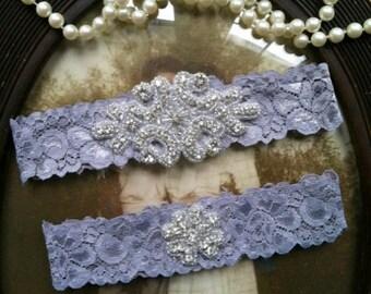SALE-Wedding Garter Grey-Gray -Lace Garter Set - Rhinestone Garter - Applique Garter - Vintage - Bridal Garter - Vintage Garter -Toss Garter