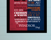 University of Alabama Crimson Tide / Auburn University Tigers House Divided Print and Canvas