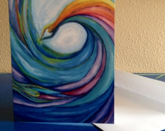Blank Art Cards- Dive Forth, water, wave, figure, woman, rainbow