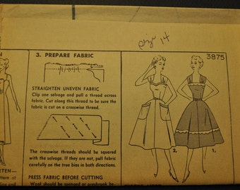 Vintage 1950s Sleeveless Dress with Pockets UNCUT Sewing Pattern Simplicity 3875 Size 14 Bust 32 - Cute Retro Sundress or Vintage Bridesmaid