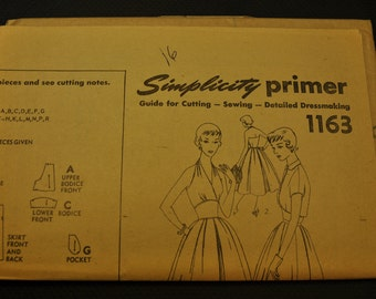 Simplicity 1163 Halter Dress with Bolero UNCUT Vintage Sewing Pattern- Size 12 Bust 30, Size 14 Bust 32 - Retro Fancy Dress