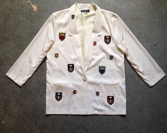 vintage 1980s blazer. prep school boyfriend jacket. retro clothing.