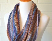 Crochet Mobius Cowl Infinity Scarf - Blue and Tan