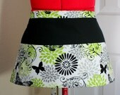 Green with Black Butterflies Apron // Server Vendor Craft Utility Teacher Apron