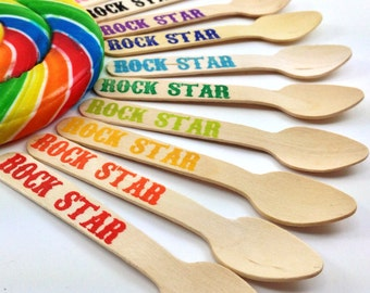 12 Rock Star SMALL Wooden Ice Cream/ Cupcake Spoons, Custom Colors Available, Wooden silverware, cutlery, utensils, kids party, Birthday