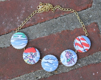 "Lilly Pulitzer ""Get Nauti"" Fabric Covered Button Necklace"