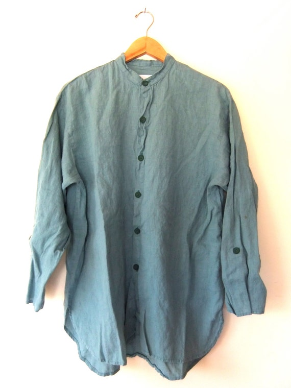Cyber Week 90s Turquoise Band Collar Linen Shirt Minimal