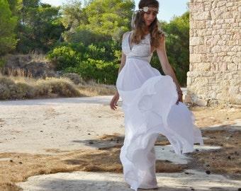 White Chiffon Long Wedding Dress Grecian Long Gown Wedding Gown - Handmade Grecian Gown With Stripes