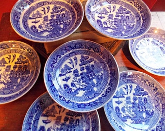 Blue Willow Bowl/ Saucer Set of Seven by Wm Ridgway and Co.