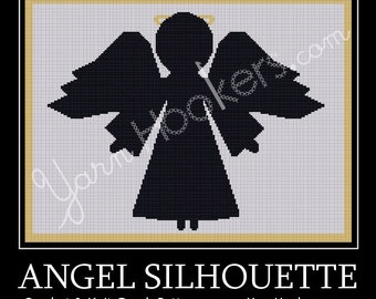Angel Silhouette - Afghan Crochet Graph Pattern Chart - Instant Download