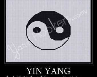 Yin Yang - Afghan Crochet Graph Pattern Chart - Instant Download